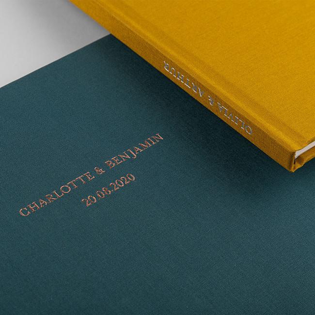 Livre d'or mariage personnalisé vert et jaune