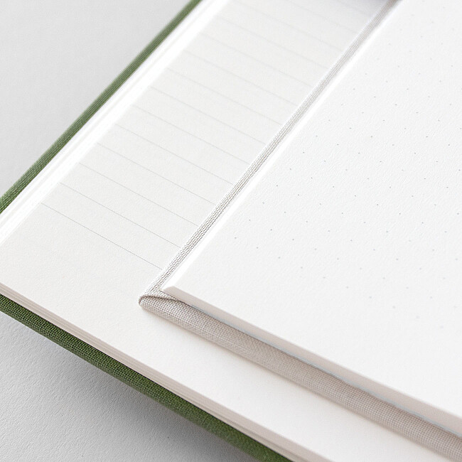 Détail pages intérieures carnet tissus doré