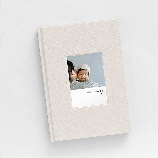 Carnet tissu beige avec photo