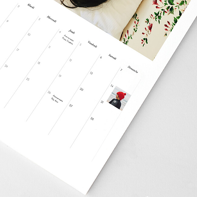 Cases personnalisables calendrier planning