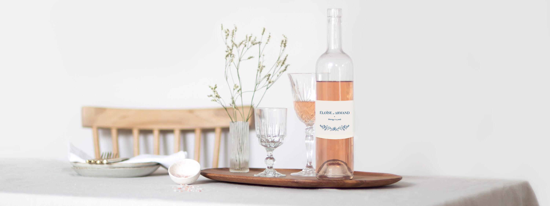 Étiquette de bouteille mariage de Marguerite Courtieu
