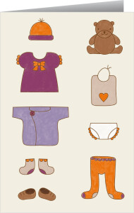 Faire-part de naissance Petits habits fille orange