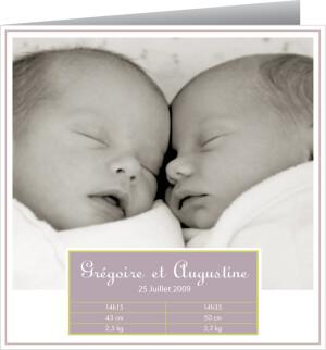 Faire-part de naissance Jumeaux violet