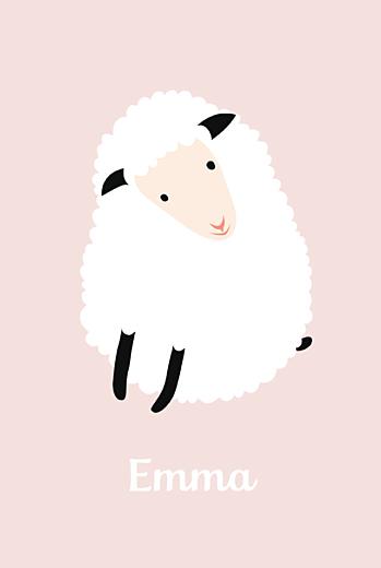 Faire-part de naissance Mouton rose