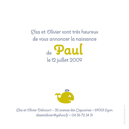 Faire-part de naissance Baleineau vert original - Page 2