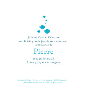 Faire-part de naissance Poissons et bulles bleu
