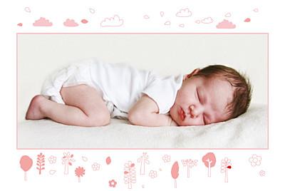 Faire-part de naissance Forêt rose photo rect 1 finition