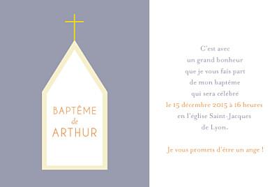 Faire-part de baptême Petite église gris finition