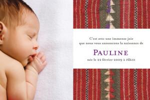 Faire-part de naissance Tissu bolivien rouge