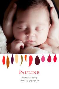 Faire-part de naissance Plumes violet