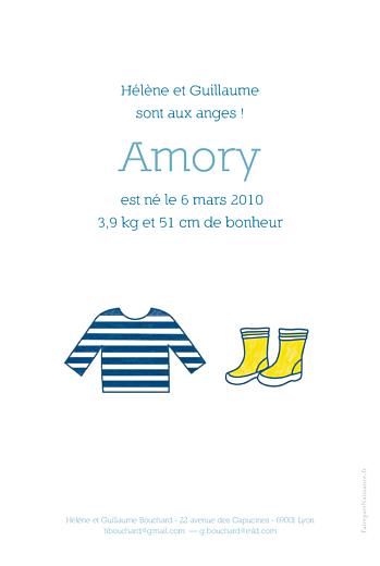 Faire-part de naissance Marin garçon recto-verso blanc - Page 2