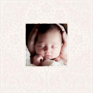 Faire-part de naissance Cadre floral fille rose