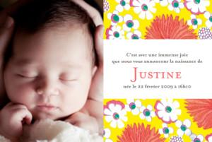 Faire-part de naissance Tissu floral 2 jaune