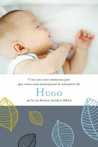 Faire-part de naissance Feuille garçon bleu