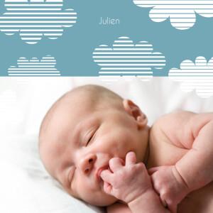 Faire-part de naissance Nuage rayé carré bleu