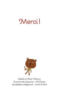 Carte de remerciement Petit nounours marron
