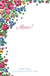 Carte de remerciement Merci provence rose bleu