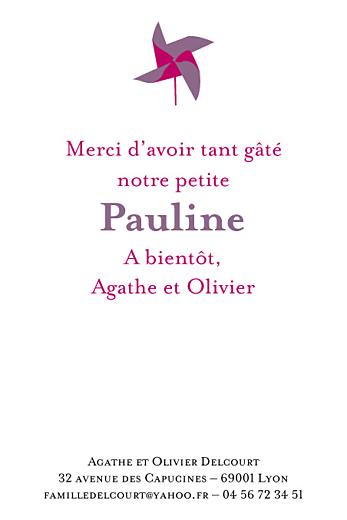 Carte de remerciement Petit moulin violet - Page 1