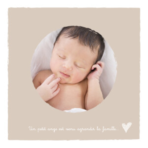 Faire-part de naissance Petits coeurs photo beige