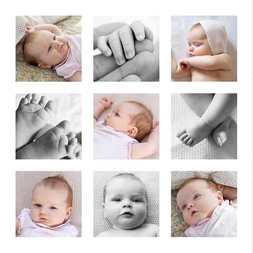 Faire-part de naissance Simple 9 photos blanc