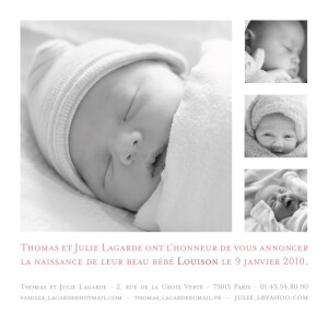 Faire-part de naissance Article photo blanc