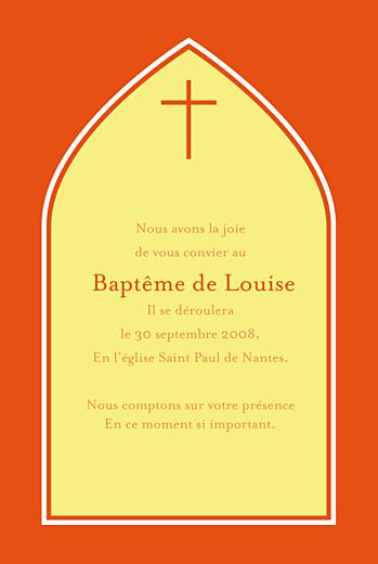 Faire-part de baptême Orangé eglise jaune rv