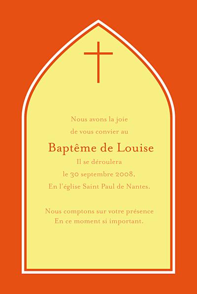 Faire-part de baptême Orangé eglise jaune rv finition