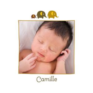Faire-part de naissance 3 éléphants ocre