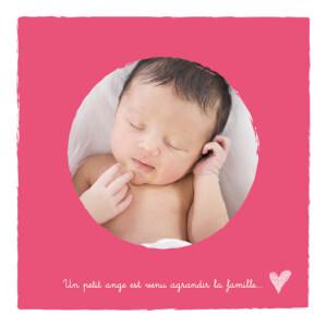 Faire-part de naissance Petits coeurs photo rose