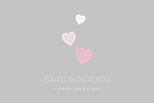 Carton réponse mariage Coeurs gris clair et rose
