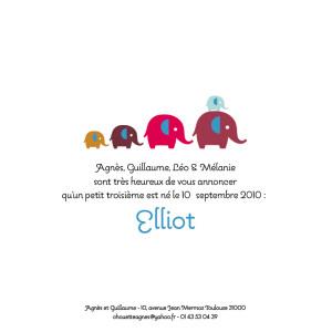 Faire-part de naissance 5 éléphants (recto seul) bleu