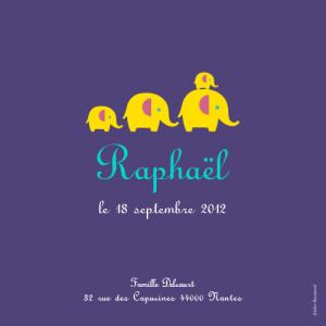 Faire-part de naissance 4 éléphants jaunes-photo violet