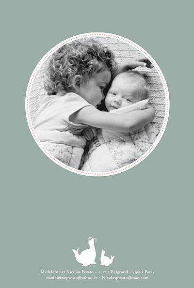 Faire-part de naissance 2 otaries vert finition