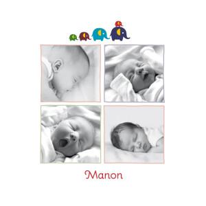 Faire-part de naissance 5 éléphants 4 photos bleu