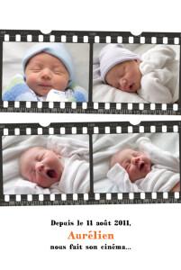 Faire-part de naissance Ciné blanc