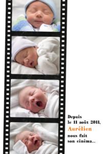 Faire-part de naissance Ciné action blanc