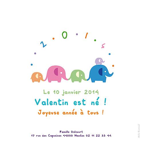 Faire-part de naissance Les éléphants de 2014 blanc