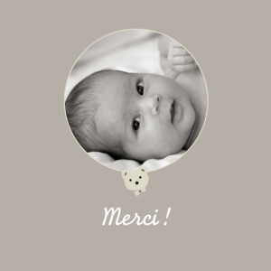Carte de remerciement Petit ourson photo gris