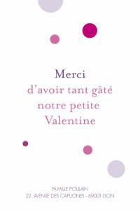 Carte de remerciement Petit so chic bulles rose