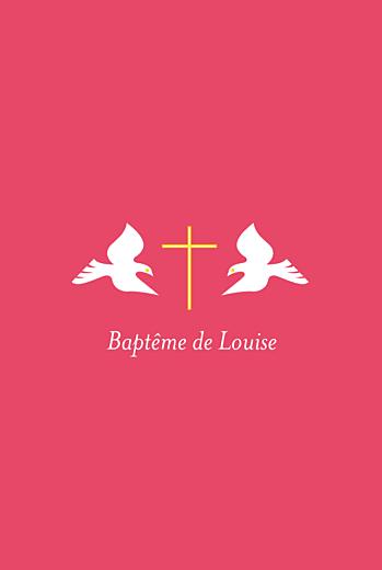Faire-part de baptême Rose colombes fille