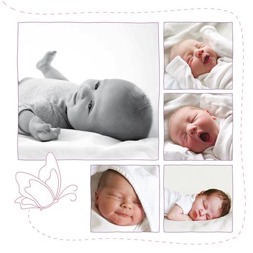 Faire-part de naissance Origami papillon 8 photos violet