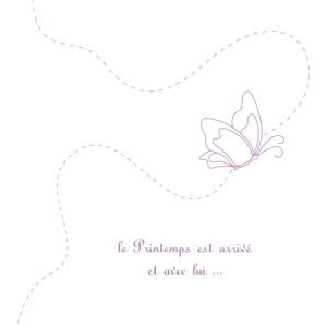 Faire-part de naissance Origami papillon 3 photos violet