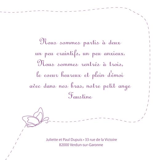 Faire-part de naissance Origami papillon 3 photos violet - Page 3