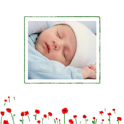 Faire-part de naissance Coquelicot photo rouge