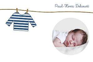 Carte de remerciement fil à linge petite marinière bleu