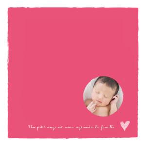 Faire-part de naissance Petite photo cœur rose