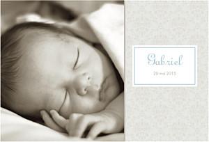 Faire-part de naissance beige ambiance florale (paysage) garçon