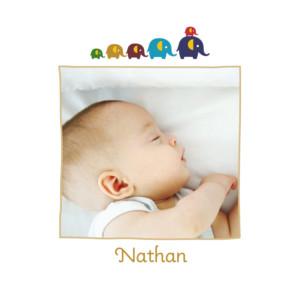 Faire-part de naissance 6 éléphants ocre
