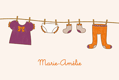 Faire-part de naissance Fil à linge fille photo rv orange finition
