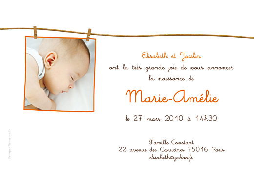 Faire-part de naissance Fil à linge fille photo rv orange - Page 2